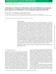 calculation of thermal conductivity thermal diffusivity and specific heat capacity of sedimentary rocks using petrophysical well logs pdf