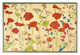 kitchen rugs area rugs 2 ft by 3 ft bamboo for indoor or outdoor patio rug red poppies
