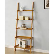 oak ladder shelf bookcase solid oak ladder shelves Mintra Oak Finish 5 Tier  Ladder Book Shelf