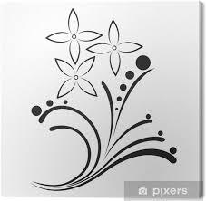 Obraz černá A Bílá Tetování V Květinovým Motivem Na Plátně