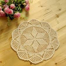 Round White Crochet <b>Cotton</b> Lace Doily Table <b>Placemats Cup Mat</b> ...
