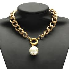 punk big artificial pearl pendant link chain statement choker necklace at banggood sold out