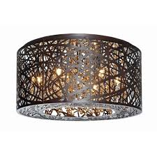 inca bronze 7 light flush mount ceiling light