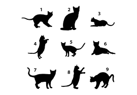 wall decal cat silhouettes adorable cat in diffe styles choose your design by number