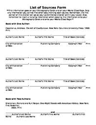 Mla List List Of Sources Form In Mla By Teaching With A Touch Of Heart Tpt