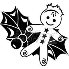 gingerbread man clipart black and white. Exellent Black Black And White Gingerbread Man Cookie Sitting On Some Holly Berry With Clipart And R
