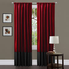 awesome red grommet blackout curtain panels red black fabric vertical curtain white glass drum table lamp