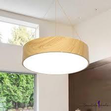 led modern lighting round led pendant lighting wood grain 36w 40w 56w 16 19 5 23 5 width acrylic circle led lights for office hallway dining room bedroom
