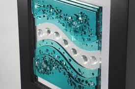 sumptuous design ideas glass wall art interior decor home fuse caribbean blue waves jm fusions panels