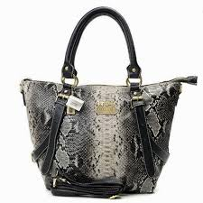 Coach Snakeskin Embossed Medium Grey Totes OA05