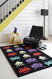 Plantation Black Space Invader Rug SPC Invaders rug bring back memories .  This rug has an iconic space invader PC game evokes memories of childhood.