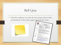 Bell Quiz Take Five Minutes To Write The Key Points About