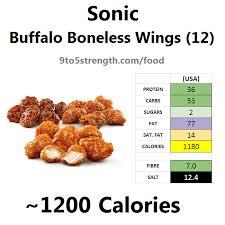 calories in sonic buffalo boneless wings
