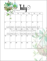 Printable Monthly Calendar July 2020 2019 2020 Calendar Free Printable Plants Theme Cute