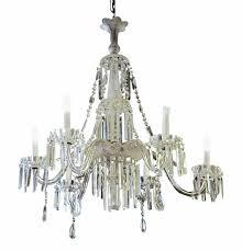 1940s french frosted and cut glass crystal six arm extra long chandelier for