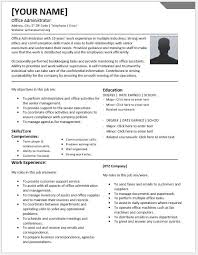 Office Administrator Resumes For MS Word Resume Templates Classy Office Administrator Resume