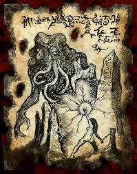 sorceress of mu cthulhu necronomicon page occult horror by zarono