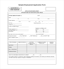 Employment Job Application Form Employment Application Form Format Employment Application Samples