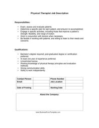 Work Description Form Physical Therapist Job Description Template