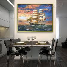 handpainted large canvas paintings sailboat seascape modern wall art picture home decoration oil paintings canvas art