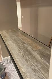 ceramic faux wood tile for a bar top