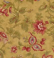 VINTAGE FIND!! Chocolat Quilting Fabric Tan with Red Floral by 3 ... & Chocolat Quilting Fabric Tan with Red Floral by 3 Sisters for MODA Review Adamdwight.com