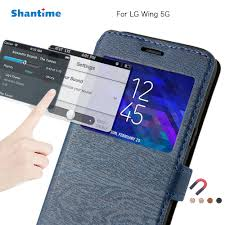 PU Leather Phone Case For LG Wing 5G Flip Case For LG Wing 5G View Window  Book Case Soft TPU Silicone Back Cover|Flip Cases