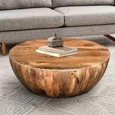 beliveau solid wood drum coffee table