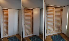 murphy bed in an ikea pax wardrobe doors in action