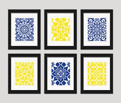 >bathroom navy yellow wall art blue yellow art home decor set of  navy yellow wall art blue yellow art home decor set of 6 8x10 prints living room art bedroom art dining room art navy yellow decor on etsy 55 00