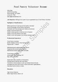 Food Pantry Volunteer Sample Resume