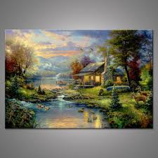 thomas kinkade oil paintings the cottage art posters and prints giclee art on canvas wall