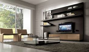 Furniture:Modular Wooden Modern Storage Wall Unit On Grey Wall With Black  Touch Modern Storage