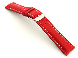 padded watch strap leather red with white stitching sahara 01