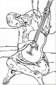 Small Picture Blue Guitar By Pablo Picasso Coloring Page Free Painting