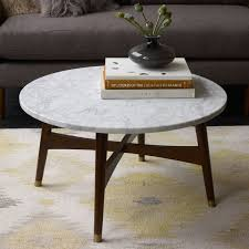 round white marble coffee table with wood legs