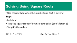 quadratic equations with real coefficients that have 2 solving using square roots
