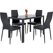best choice s 5 piece kitchen dining table set w gl top and 4 leather