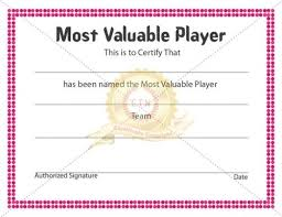 mvp award certificates mvp or most valuable player is a certificate award to the best