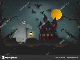 Ghost Houden Van Lamp Het Kasteel Donker Bos Halloween Paper