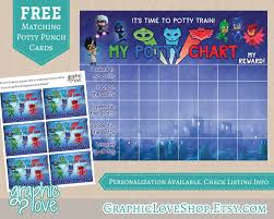 printable pj masks potty training chart set punch cards 128270zoom