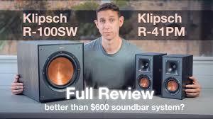 Klipsch Powered R-41PM Bookshelf Speakers & R-100SW Subwoofer Review.  Better than $600 Soundbar Kit? - YouTube