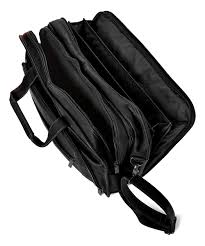 womens black leather briefcase alternate image 3