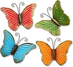 Myjaqi 4 pack metal butterfly wall decor, metal wall art inspirational wall decor sculpture hanging for indoor and outdoor, bedroom, living room, office, garden (9.5 inch 7.5 inch) 5.0 out of 5 stars 1 Amazon Com Giftme 5 Metal Butterfly Wall Art Decor Set Of 4 Colorful Garden Wall Sculptures Everything Else