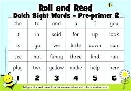 Dolch Primer Sight Vocabulary Roll And Read Activity Sight Words