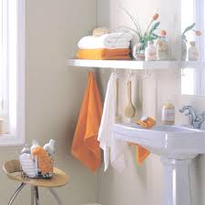 Bathroom, Bathroom Towel Storage With Orange And White Towel: Awesome  Bathroom Storage Ideas For