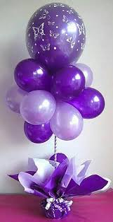 pretty balloon centerpiece in diffe shades of purple no helium needed