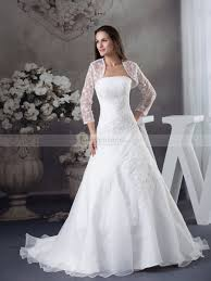 lace bolero with appliqued strapless organza wedding dress