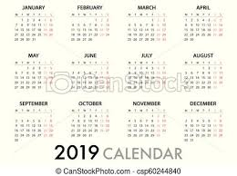 Calendar For 2019 Week Starts Monday Simple Vector Template