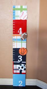 Hand Painted Growth Chart Sports Theme Madras Pottery